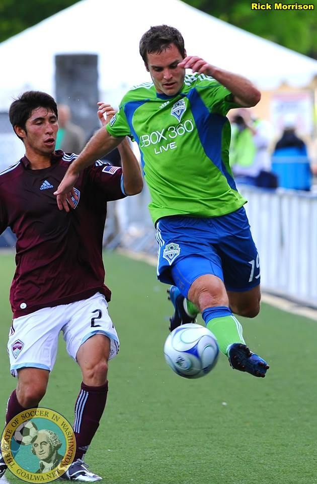 Forrest flies against the Rapids in a 2009 US Open Cup match. Kevin scored the lone goal as Seattle advanced. (Rick Morrison)