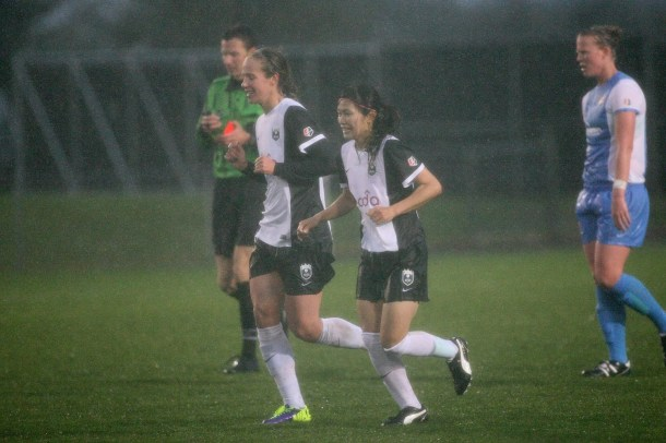 Seattle's goal scorers in the monsoon in New Jersey on Wednesday night. Goeble and Kawasumi. (Reign Facebook)
