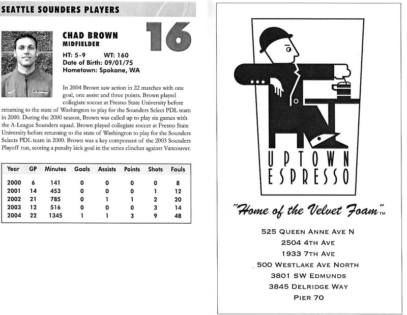 Brown's bio in the 2005 Seattle Sounders Media Guide.