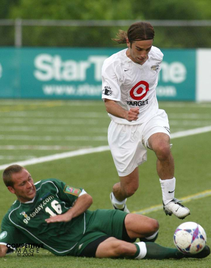 Chad Brown, seen here in a 2004 photo, was a tough-as-nails midfielder / defender for the Sounders of the USL. Now he's head coach of the new EPLWA Spokane Shadow.