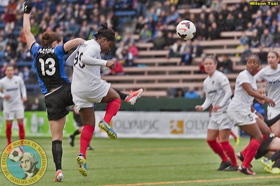 Kendall Fletcher heads home the first Seattle goal. (Wilson Tsoi)