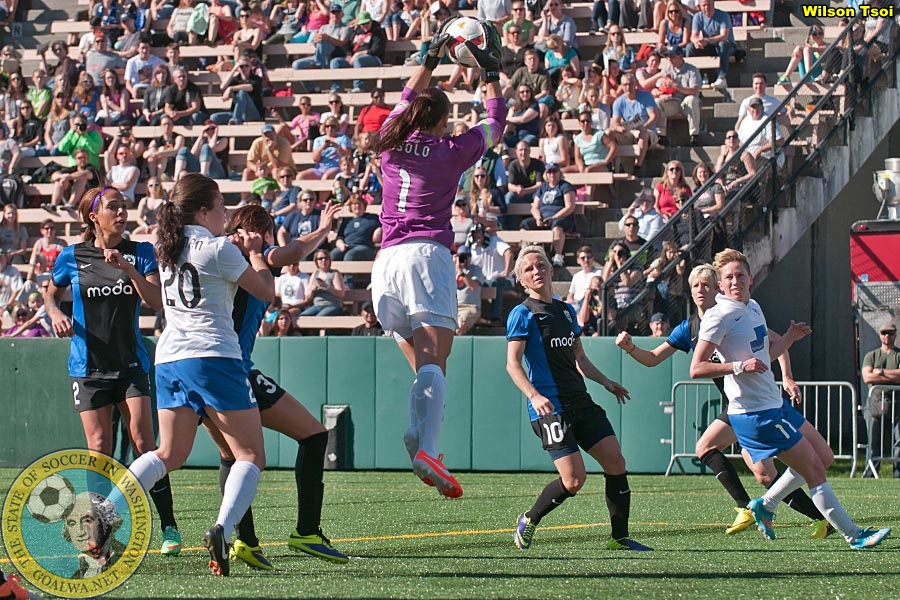 Seattle Reign FC beats Boston Breakers 3-0 in its 2014 NWSL home opener at Seattle Memorial Stadium