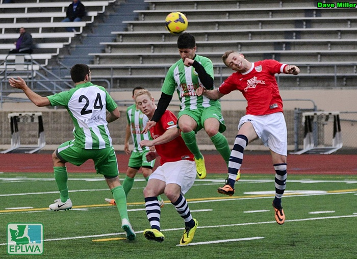 South Sound FC (red) improved to 3-0-0 as they won their home opener Saturday night in Lakewood 2-1 over Wenatchee United FC. (Dave Miller)