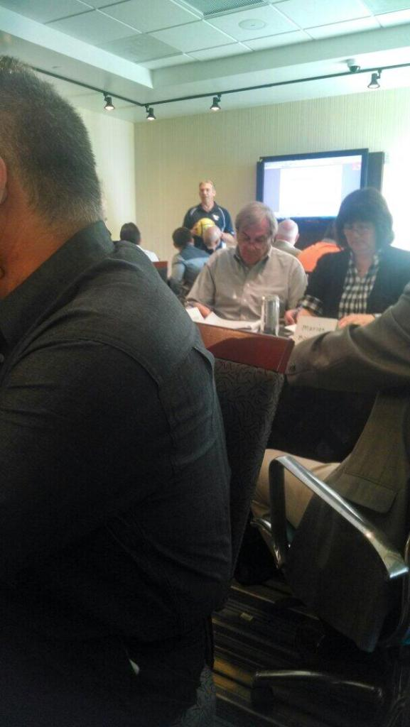 Tweeted: Marian Bowers (far right) at the MASL meetings.
