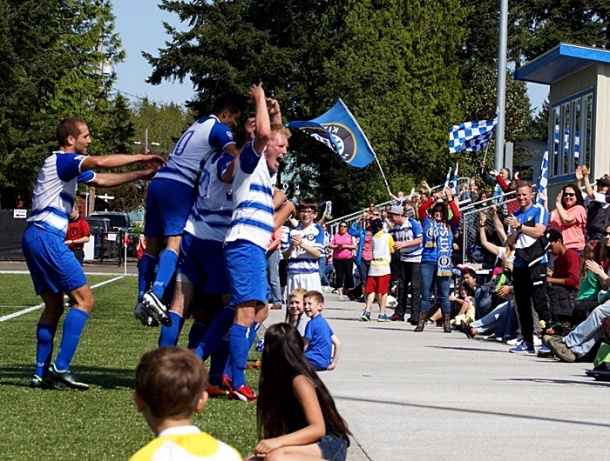 The Kitsap Pumas react after Septi Danciu's goal deep into stoppage time gave the club a 1-1 draw in their 2014 PDL opener against Vancouver. (Pumas Facebook)