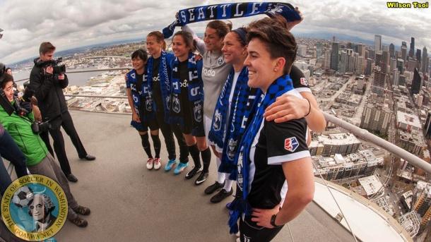 Reign FC unveils its new 2014 uniform kits atop Space Needle