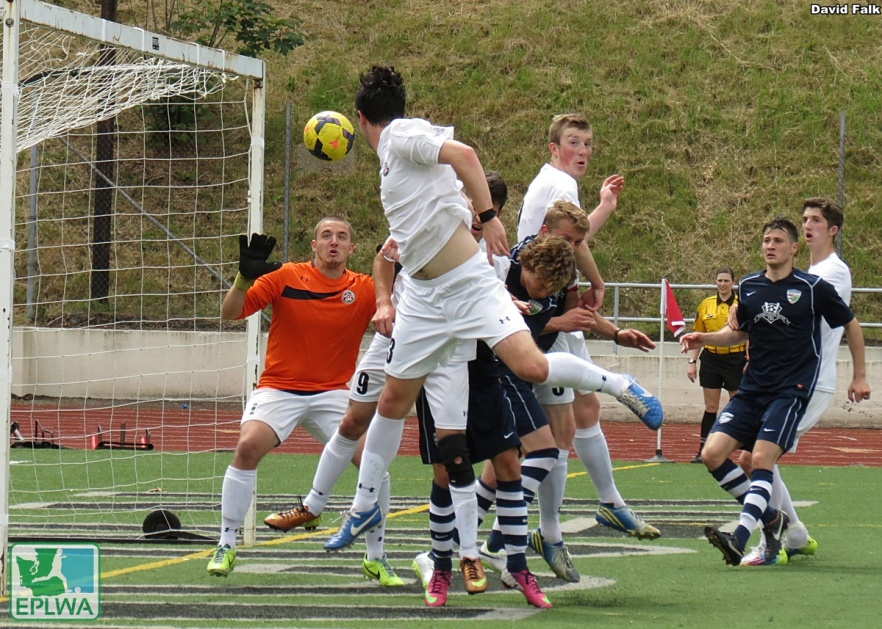 This Joye Jertsen corner kick avoids the crowd and goes through WestSound goalkeeper Jordan Hadden to make it 2-0 South Sound in the 82nd minute. (David Falk)