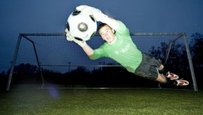 Andrew Glaeser hunts soccer balls in goal for Spokane Shadow