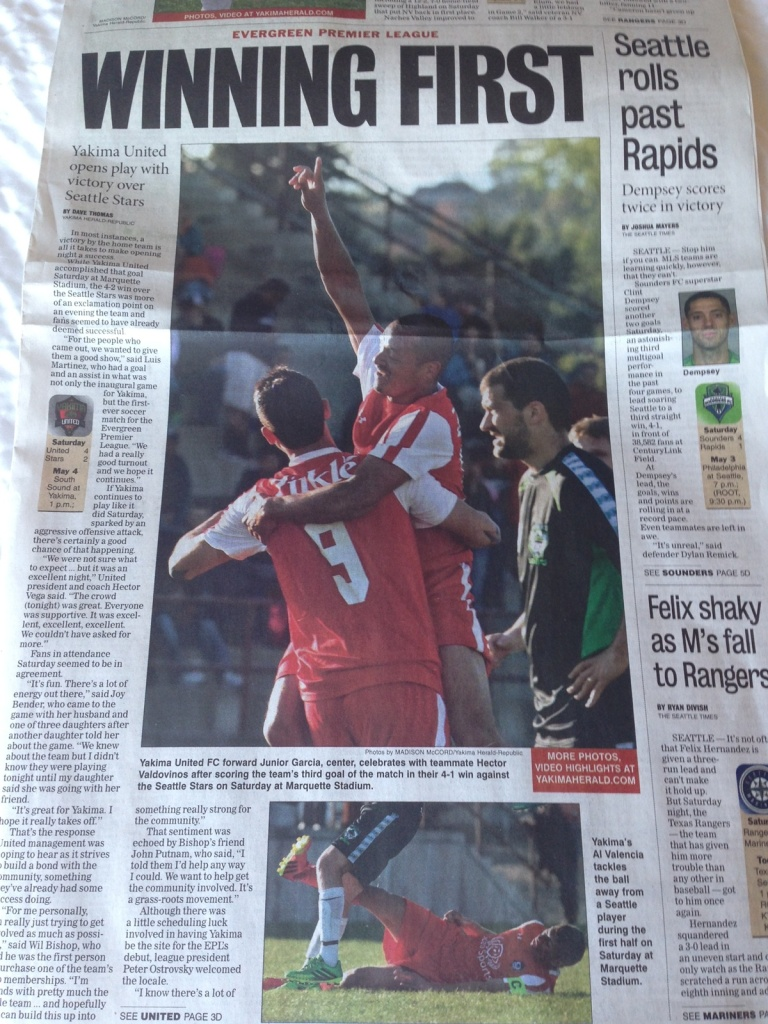 The EPLWA helped put local soccer stars on the front page of the Yakima Herald-Republic.