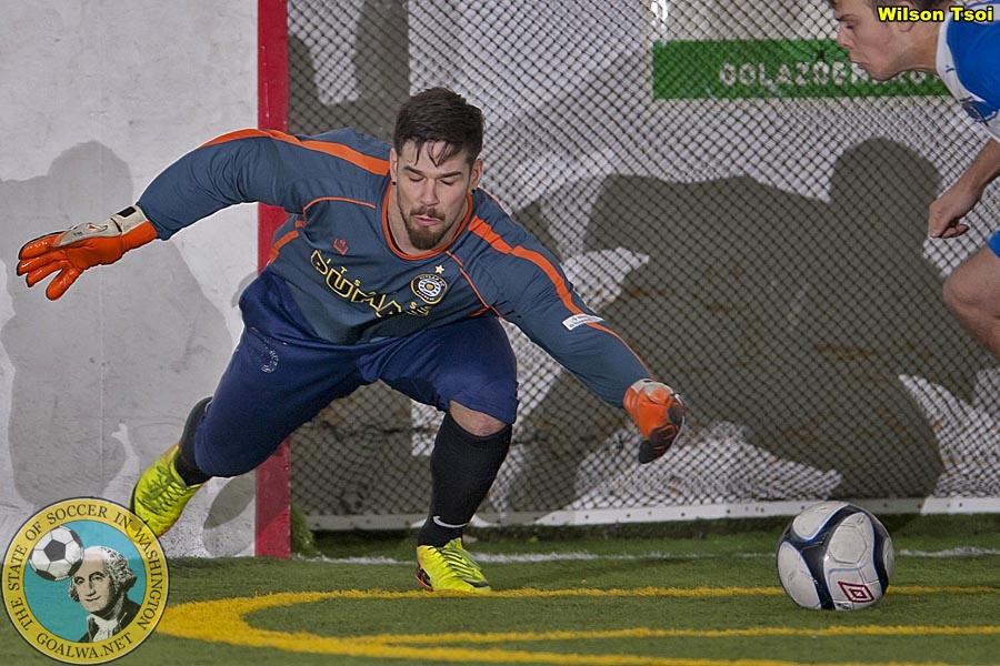 Salveson in goal with the Kitsap Pumas. (Wilson Tsoi)