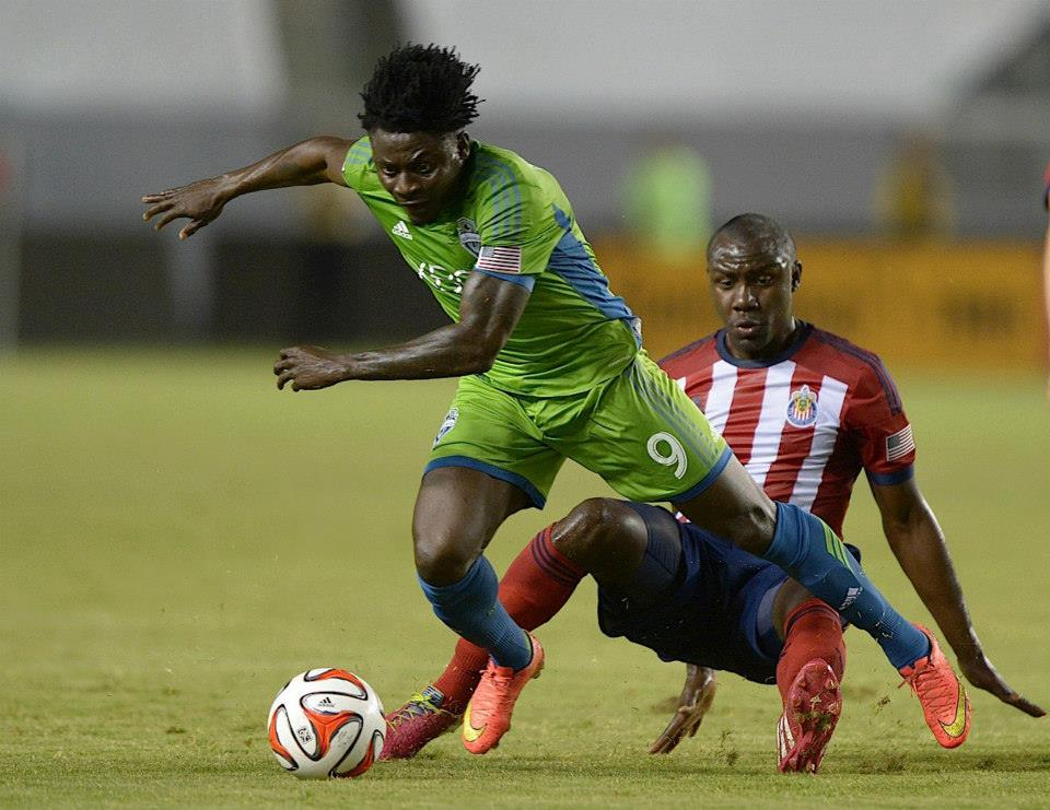Obafemi Martins scored twice in the first half for the Sounders. (Facebook)