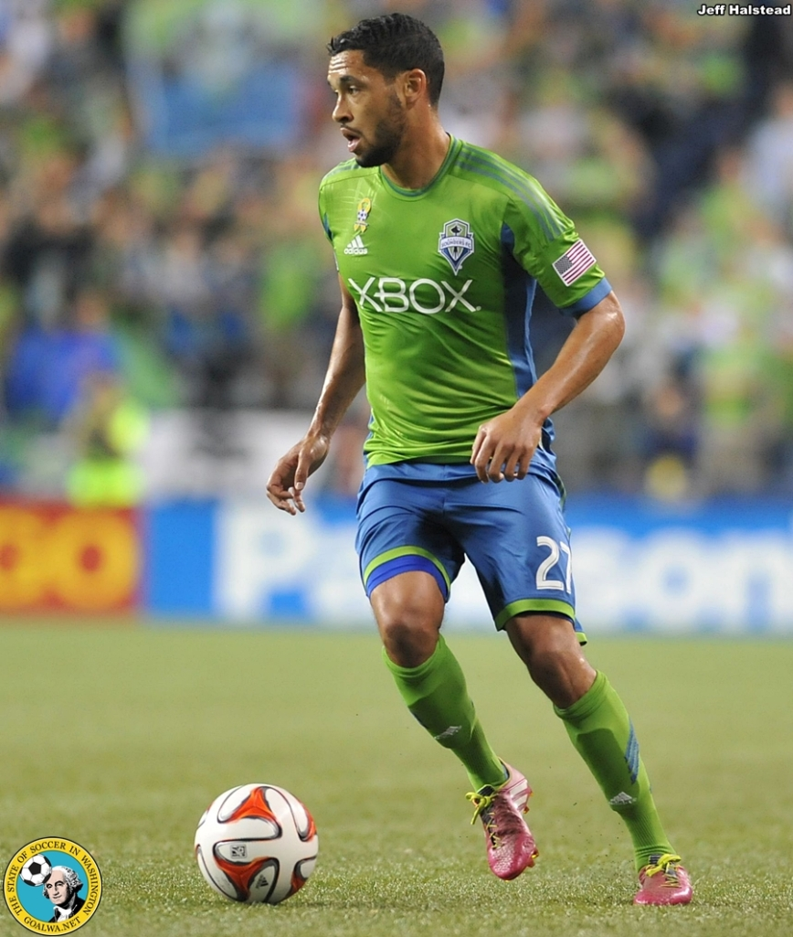 Lamar Neagle, 2014. His shin guards are clearly seen beneath his socks. (Jeff Halstead)