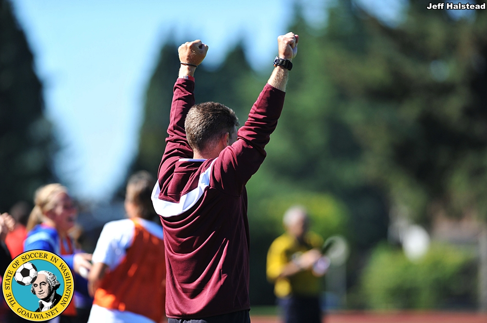 The Loggers sideline celebrates their winning goal. (Jeff Halstead)