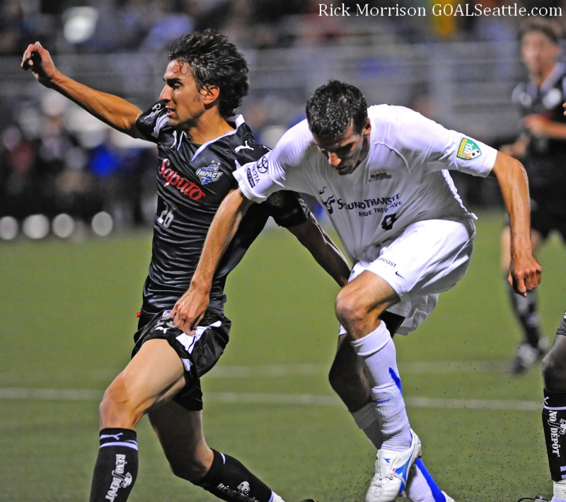 Sebastien Le Toux of the 2008 USL Sounders was more concerned with upper ankle protection. (Rick Morrison)