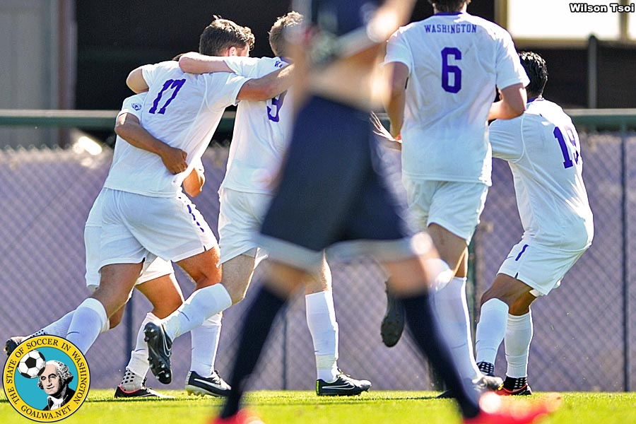 University of Washington men's soccer team defeats Pennsylvania 3-1 at Husky Soccer Stadium