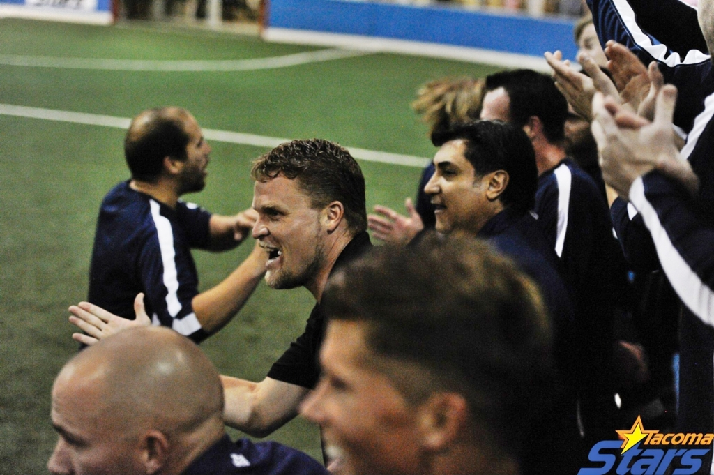 The Tacoma Stars bench reacts to their first goal of the night from Duncan McCormick. (Chris Coulter)