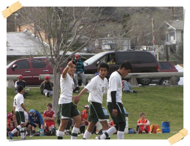 Eleazar Galvan, far left, scoring with the Chelan High School Goats.