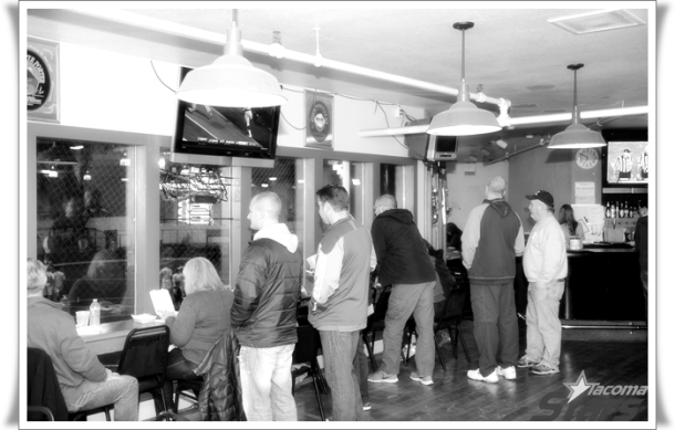 The Far Post Bar began filling up well before the match kicked off.