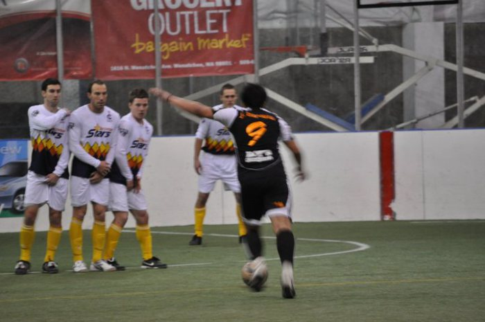 The Stars defend a Fire free kick during a match at the Wenatchee Valley Sportsplex on January 9, 2011. (Fire Facebook)