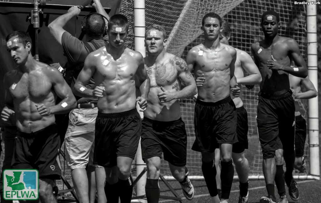 Davis Strawn, second from right, with Victory mates at a Gatorade commercial film shoot. (Bradley York)