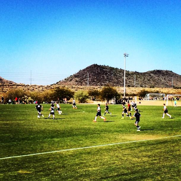 Boys '01 in action against Arizona. (Washington Youth Soccer Twitter)
