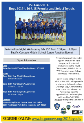 ISC Gunners boys high school age player tryouts announced