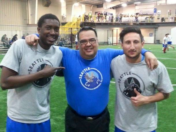 Seattle Sprting FC owner Victor Perez (center) enjoyed his club's first season indoors.