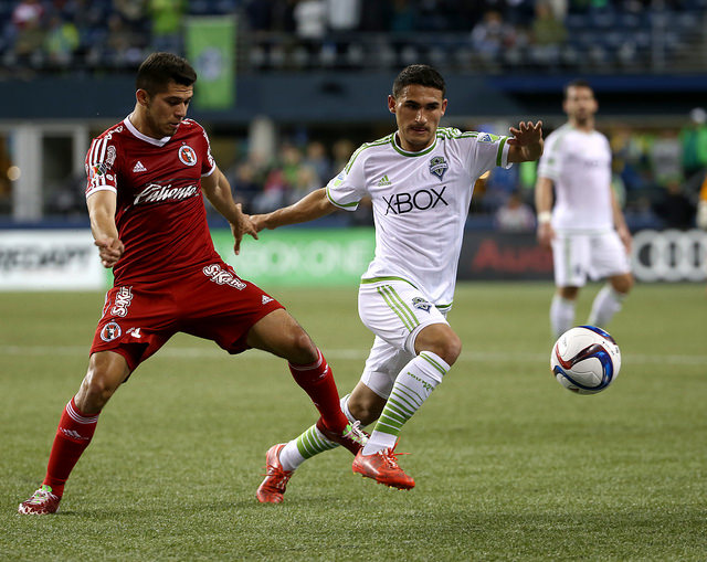 On Tuesday, March 24, 2015 Seattle Sounders FC played Liga MX side Club Tijuana to a 2-2 draw at CenturyLink Field. All images courtesy of Seattle Sounders FC Communications. Photographer: Corky Trewin.