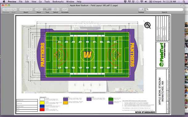 Facebook photo: The design for the new Apple Bowl surface.