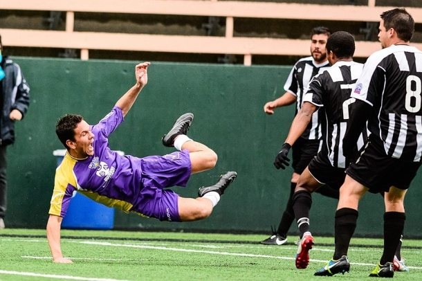 An FCT player goes sideways in action on Sunday at Memorial Stadium. (