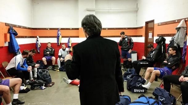 Tacoma gets final instructions in their locker room prior to kick off. (Shannon Matthews / Twitter)