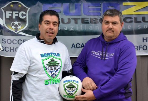 Seattle Stars Co-Founder Margarito Avilla and Fuerza FC President Tony Carillo. The two clubs will help build a more-competitive Stars side in the Evergreen Premier League in 2015.