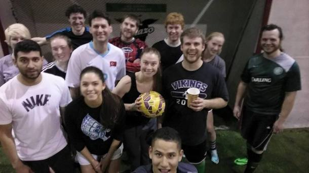 Aviators players and friends gathered for one last kick-around Friday at Soccer First in Arlington. (Facebook)