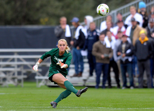 """""""University of Colorado goalkeeper  Kate Scheele kicks the ball downfield during a game against the University of Denver on Friday, Sept. 12, at Prentup Field in Boulder.  (Jeremy Papasso)"""