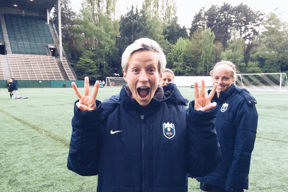 Three (not six): Megan Rapinoe holds up three's to celebrate her hat trick against the WNY Flash. (club photo)