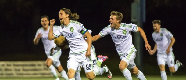 Andy Craven celebrates one of his two goals. (S2 photo)
