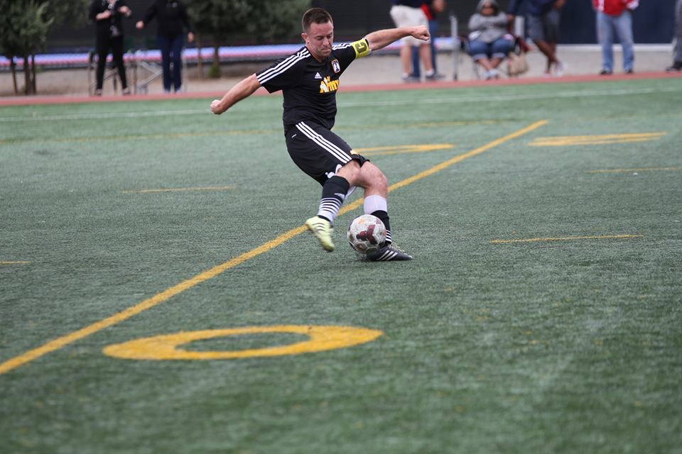 Andy Hyres (PLU, South Sound FC) in action for Army. (courtesy photo)