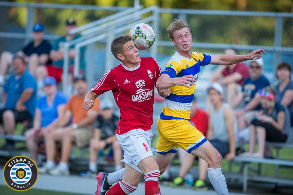 Logan Miller (right) was involved in all four goals for Kitsap. (Jomer Siasat)