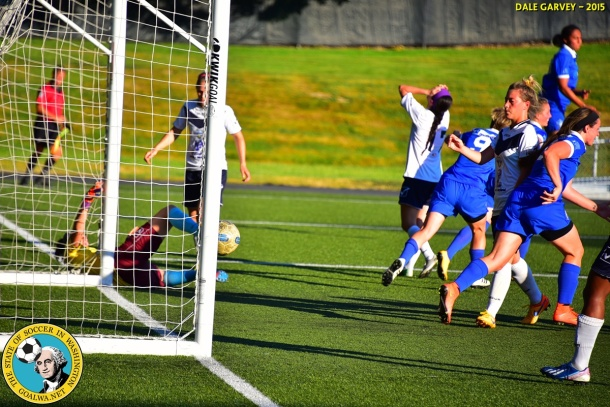 This one goes in. ISC Gunners score and win their WPSL match 1-0 over FC Tacoma. (Dale Garvey)