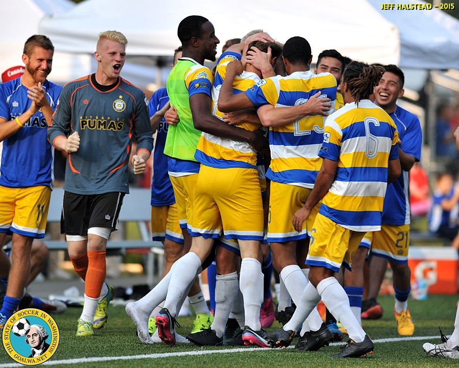 GOAL! Pumas celebrate last night in Bremerton. (Jeff Halstead)