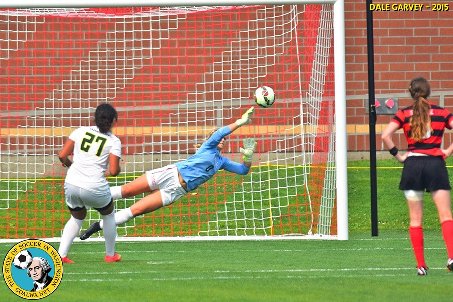 Brianna Smallidge saves an Oregon penalty kick try with just 19 seconds left in the match. (Dale Garvey)