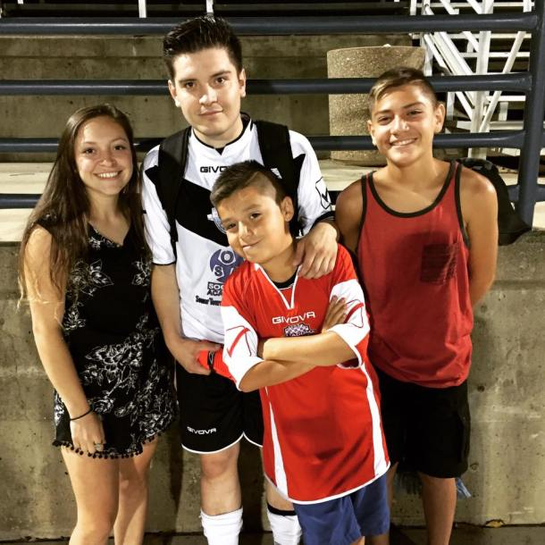 Sergio mat up with family when OSA FC traveled to Sacramento this summer in NPSL play. (Facebook)