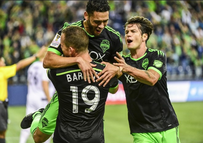 The Sounders celebrate a Lamar Neagle goal in last night's 3-0 win over the Vancouver Whitecaps in the 2016 Scotiabank CONCACAF Champions League. (Josh Weisberg / Sounders FC)