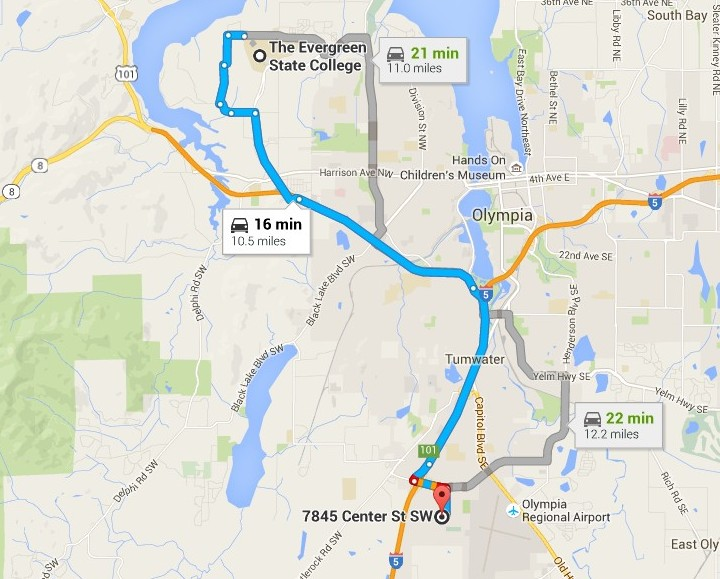 The Artesians are moving to the campus of Evergreen State College, about 11 miles north of where they played last season in the WISL. (Google maps)