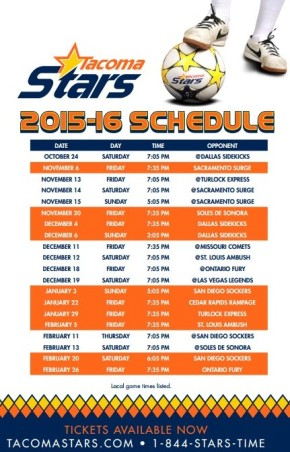 Tacoma Stars release 2015-16 MASL schedule