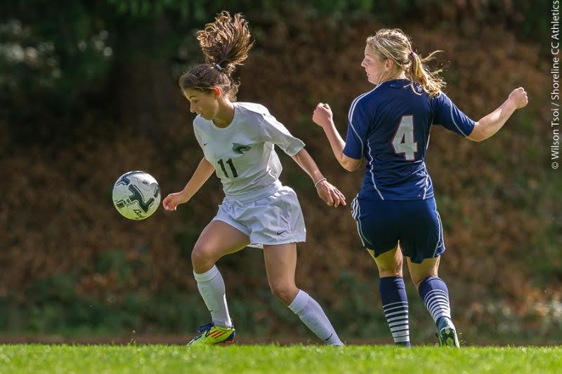Shoreline Caty Miller (#11) settles the ball before scoring the game's only goal at 54' mark.