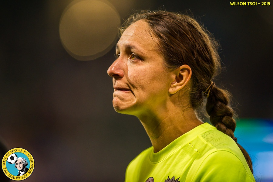 Stephanie Cox shows emotion after Reign FC lost a second straight NWSL Final. Today the club announced her retirement. (Wilson Tsoi)